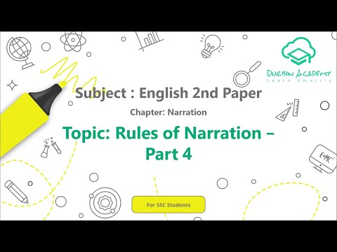 35  English 2nd Paper SSC   Narration    Rules of Narration   Part 4