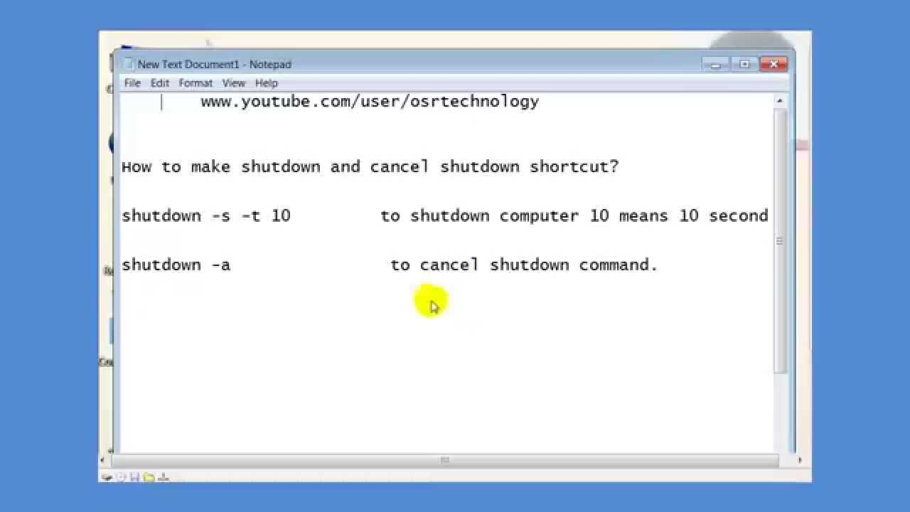 how to cancel shutdown command in windows 7