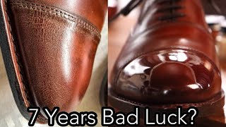 HOW TO FIX A CRACKED MIRROR SHINE: Allen Edmonds Park Avenue Shoe Shine Tutorial