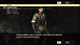 Metal Gear Solid 3 HD Collection Secrets: Camouflage List