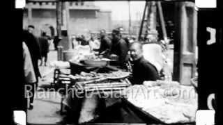 1920's film of China: Market scene and street scene of Beijing