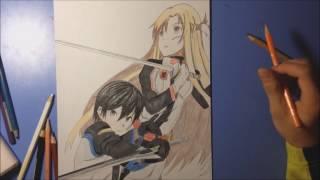 手繪 刀劍神域電影-桐人and亞絲娜(Sword Art Online - Ordinal Scale)