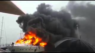 Горит яхта.В Турции сгорела яхта русского бизнесмена за 6млн долларов