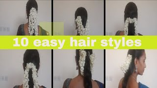 10 Saree hair style with jasmine by Chellam choice / simple and easy self hair style  with flower