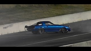 RX7 GETS OUT OF SHAPE AND HITS THE WALL AT SYDNEY DRAGWAY 19.8.2015
