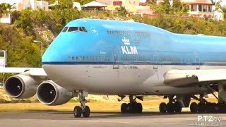 KLM 747 Take Off from SXM St. Maarten on 3/11/2016