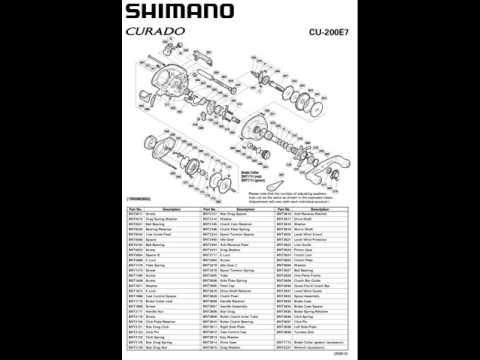 shimano curado 200 e7 manual despiece. catalog parts reel - youtube, Fishing Reels
