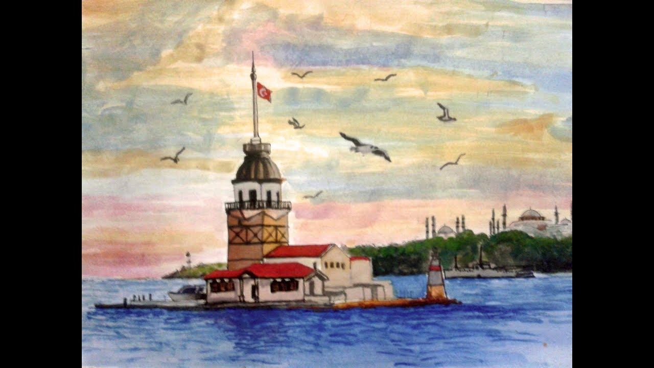 Kiz Kulesi Suluboya Youtube