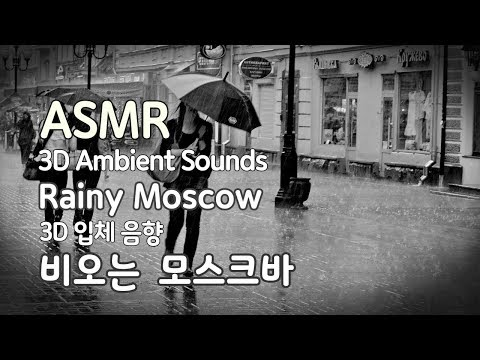 ASMR Rainy Moscow (3D Ambient sounds) 비오는 모스크바(3D입체음향)