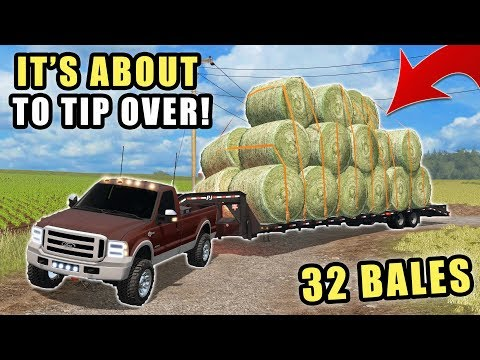 TOO MANY BALES FOR THE F350! HAULING 32 BALES OFF THE FIELD  EP 6  FARMING SIMULATOR 2017