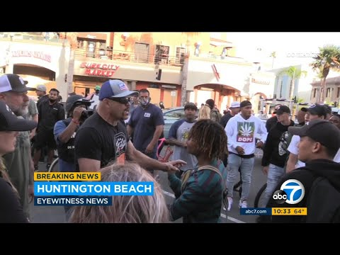 Chuck Liddell Works To Calm Crowds At Protests In Huntington Beach | ABC7