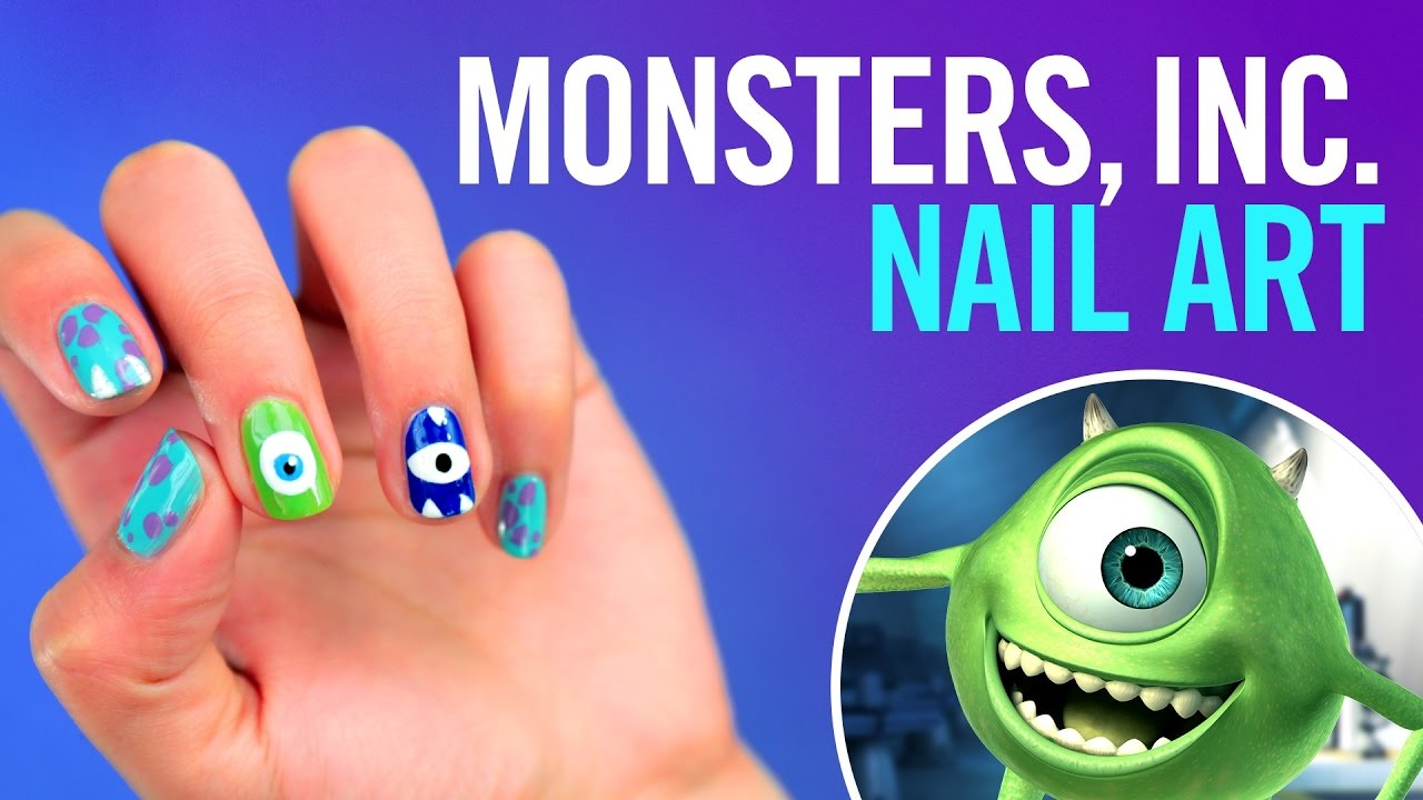 Monsters Inc Nail Art Tutorial Tips By Disney Style Youtube