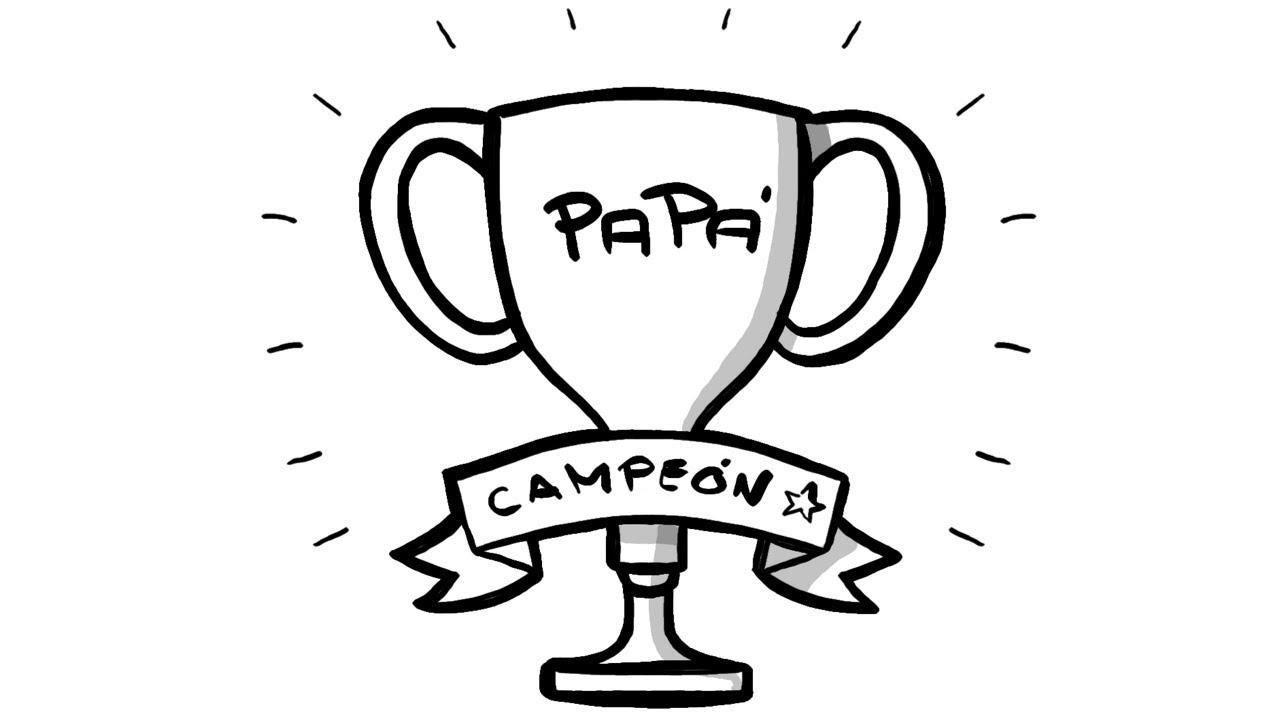 Dibujo De Copa Para Tarjeta Del Día Del Padre Trofeo Para Papá