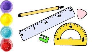 Cómo dibujar y colorear MATERIAL ESCOLAR facil para niños | Dibujos para dibujar | Dibujos faciles