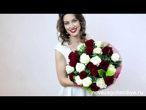 Букет из 25 красных и белых роз. Букет Микс.