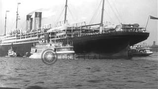 SS Adriatic arrives safely from the U-Boat war zone in New York City. HD Stock Footage