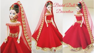 How to decorate a Doll with Indian Bridal Dress & Jewellery/DIY Bridal Doll Decoration/Indian Bride