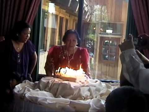 The fiery birthday cake - 80 candles -- Wow!
