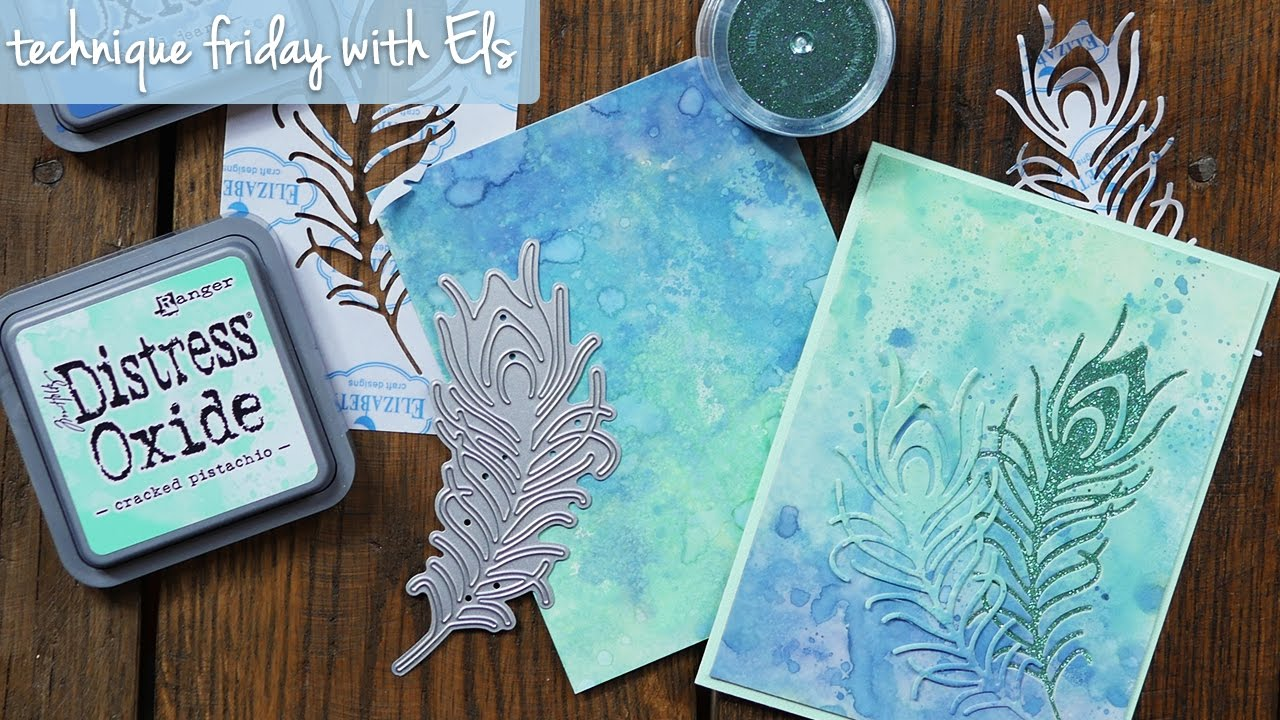 Peacock Feather Card With Distress Oxide Background