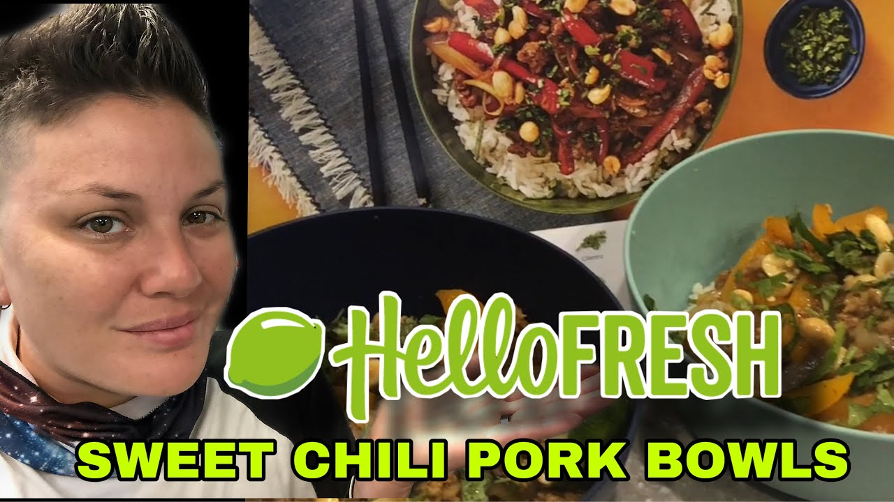 Cooking Another Delicious Hello Fresh Meal Meal 4 Sweet Chili Pork Bowls With A Full Review Youtube