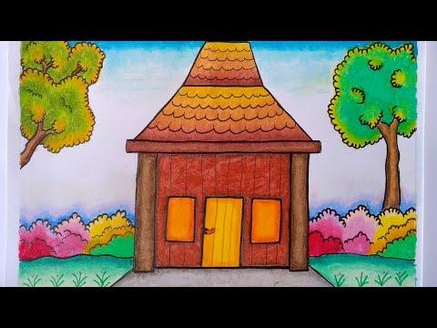 Cara Menggambar Rumah Adat Menggambar Rumah Adat Jawa Youtube