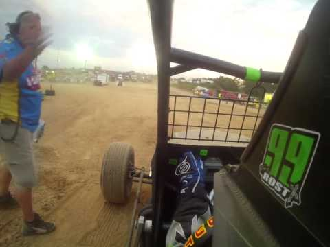 Tony Rost WAR Series Non Wing Sprint Car Qualifying @ Lebanon Midway Speedway in car camera