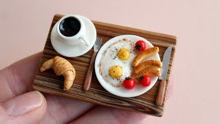 A set of miniature foods for Dollhouse and dolls. Breakfast. Tutorial. DIY. Миниатюрный завтрак.