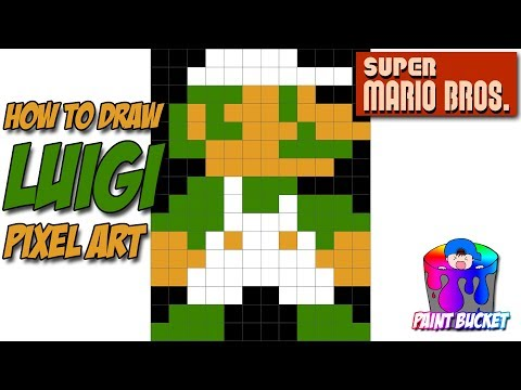 How To Draw Luigi Super Mario Bros 8 Bit Pixel Art Drawing Tutorial Youtube