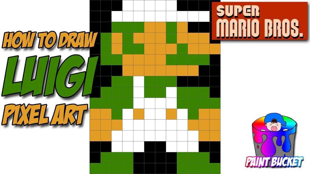How To Draw Luigi Super Mario Bros 8 Bit Pixel Art Drawing