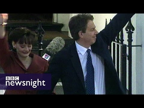 Tony Blair wins landslide general election win for Labour (1997) - Newsnight archives
