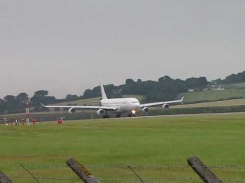 Hi Fly/Gabon Airlines Airbus A340 takes off from Edinburgh airport