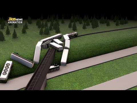 Animation of how an Amtrak train derailed near DuPont