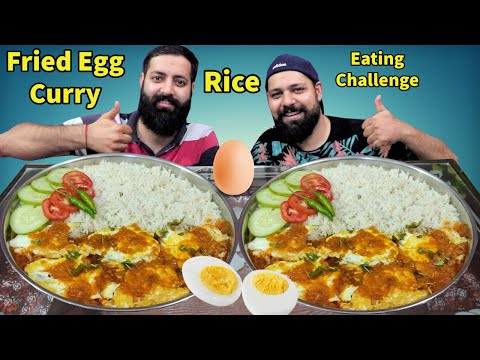 FRIED EGG CURRY & RICE EATING CHALLENGE   Egg Curry With Rice Eating Show   Indian Food Challenge