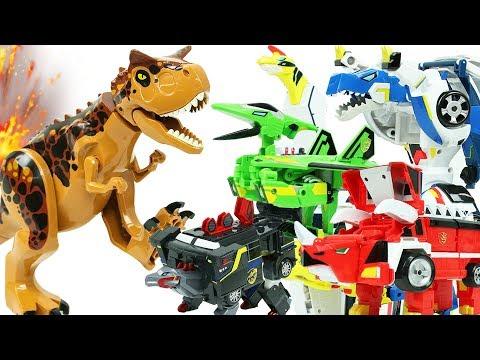 공룡 결투 카르노 타우루스 vs 쥬라기캅스 총출동 레고 쥬라기월드 장난감 변신 공룡로봇 자동차 Dinosaur Robot Battle Lego Jurassic World Toys
