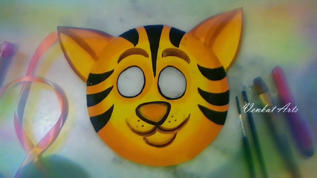 How to Make Tiger Mask / DIY Mask / Paper Plate Tiger Mask