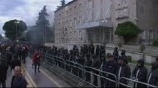 Clashes during anti-government protest in Albania