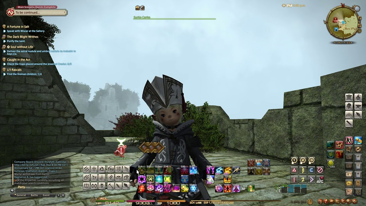 | FFXIV | Level Prog | Friday 13, July | Getting Stuff to 60 and then on to  70 |
