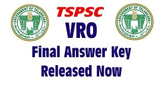 TSPSC VRO Answer Key 2018 (official) Released || TSPSC VRO Final Key 2018
