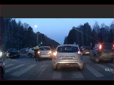 Жесткое ДТП Щелкина - Широкая (9пл) из трех авто. Снежинск 3 ноября 2017