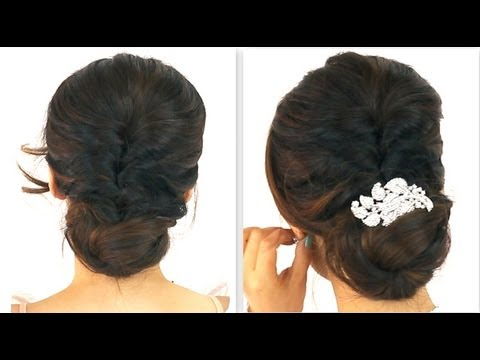 ★-5min-easiest-party-updo-|-everyday-braided-bun-prom-hairstyles-for-medium-long-hair-tutorial