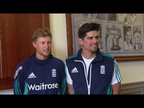 Alastair Cook and Joe Root on the Honours Board at Emirates Old Trafford.