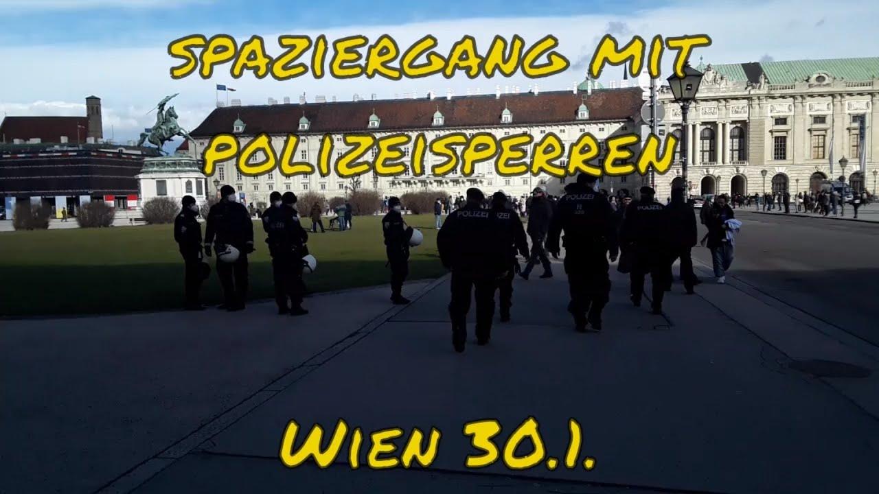 SPAZIERGANG MIT POLIZEISPERREN in Wien am 30. Jänner 2021