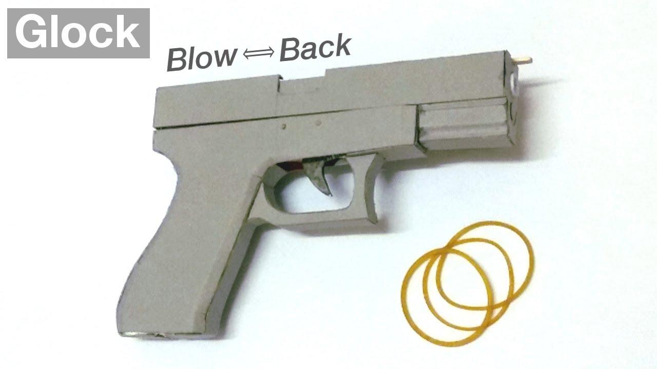 Blowback Rubber Band Gun Cardboard Glock Simple