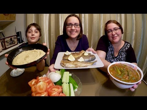 Freshly Caught Trout, Hummus And Okra  Gay Family Mukbang (먹방) - Eating Show