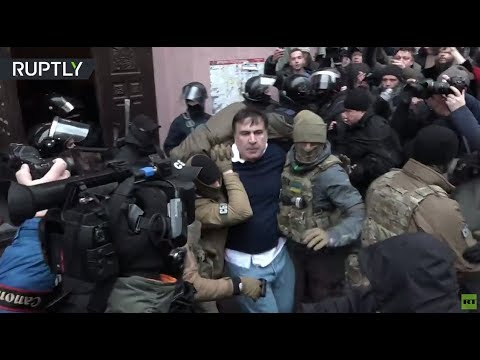 RAW: Former Georgia's leader Saakashvili detained as supporters clash with police in Kiev