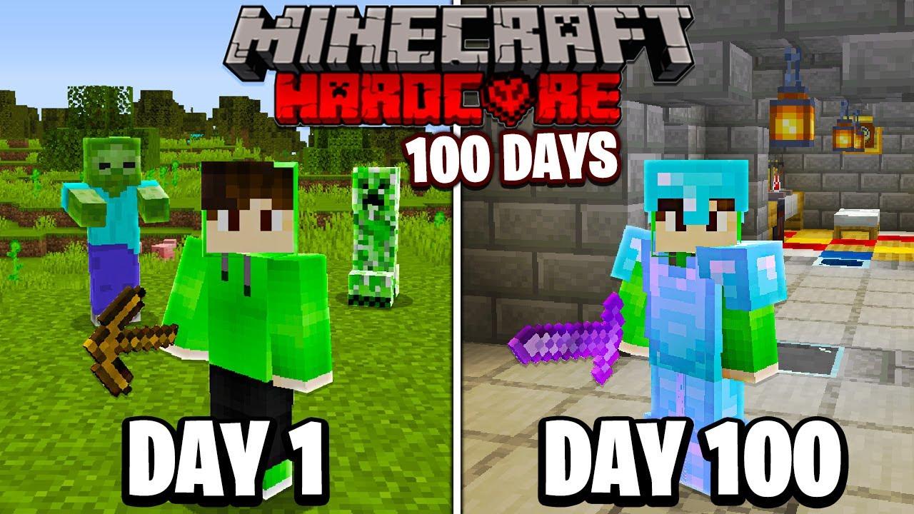 I Survived 100 Days in HARDCORE Minecraft