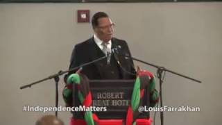 "Farrakhan Farrakhan says ""I want Trump to push it so good that Black folks say I'm Outta H"