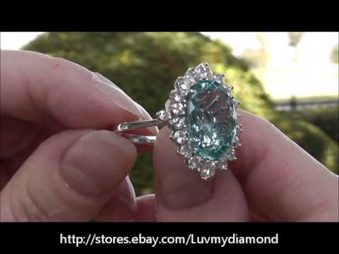 Vintage 7 8ct santa maria aquamarine diamond 18k white for Santa maria jewelry company
