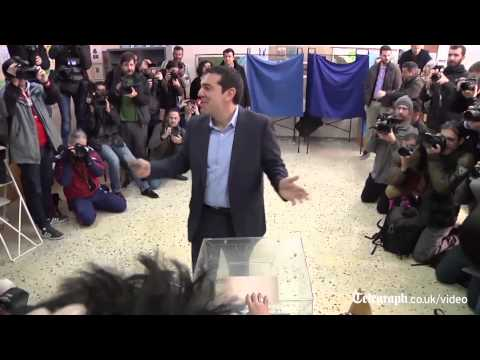 Syriza leader Alexis Tsipras receives rock star greeting at polling booth