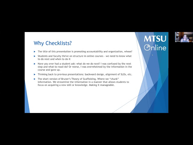 Utilizing Checklists in D2L: Promoting Accountability and Organization in Your Online/Remote Courses